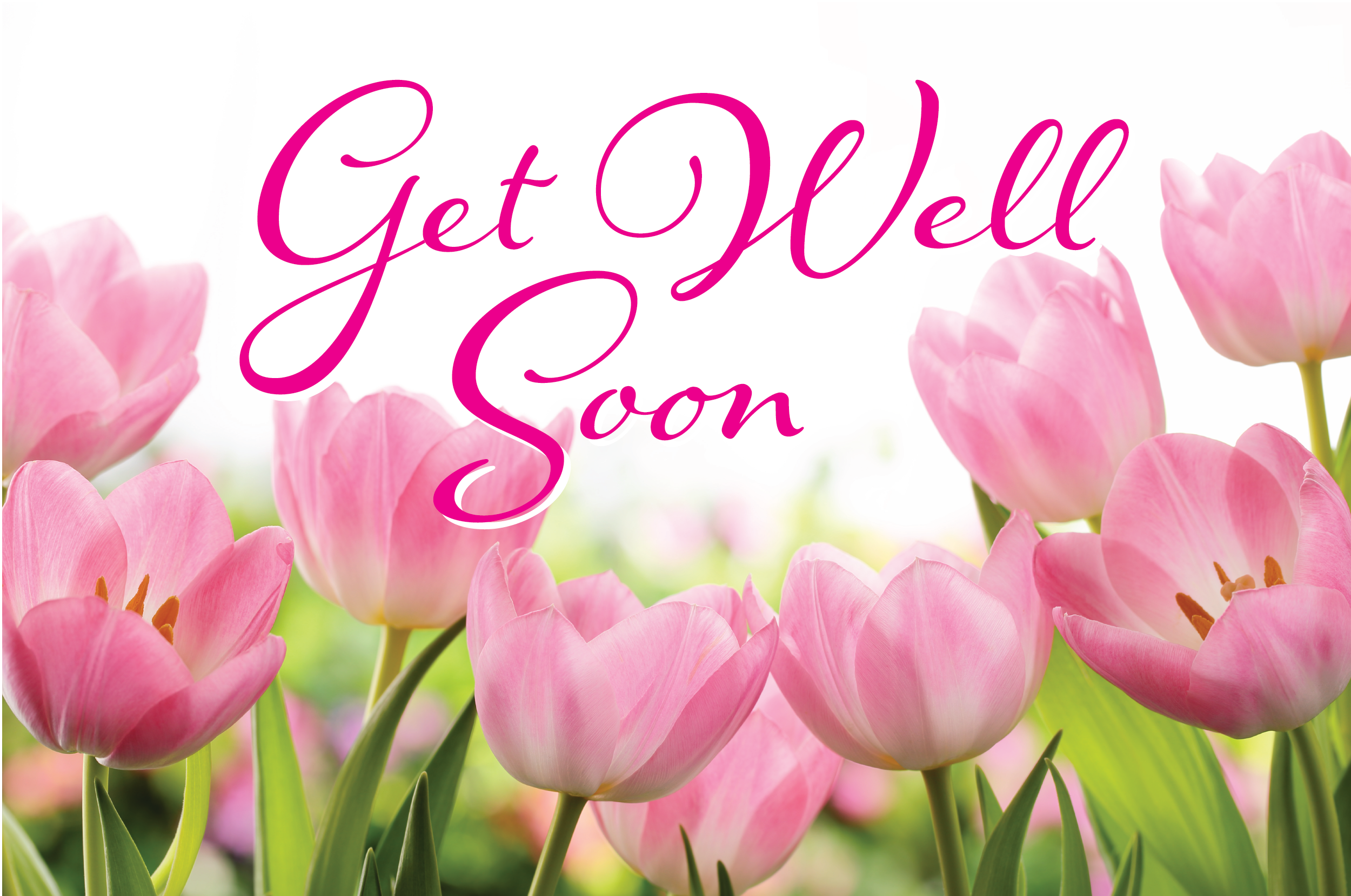 get well soon with flowers card